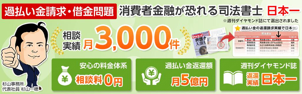 消費者金融が恐れる司法書士日本一【杉山事務所】相談実績3000件