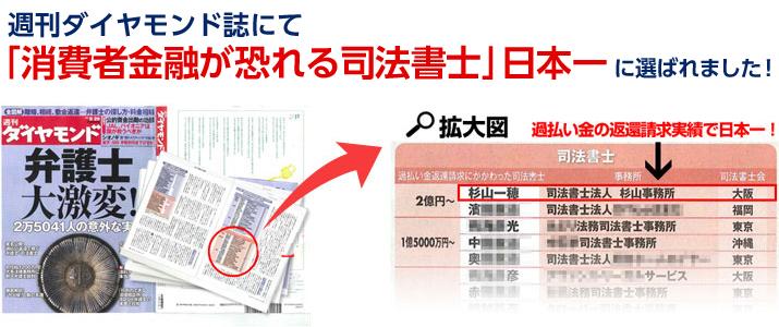 週刊ダイヤモンド誌「消費者金融が恐れる司法書士」日本一に選ばれました!
