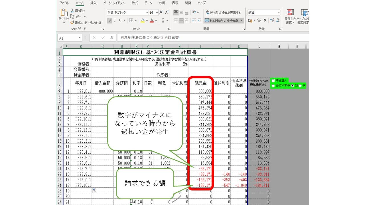 名古屋式の使い方:引き直し計算
